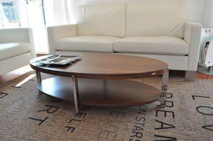 Design Couchtisch Tisch O-111 Nussbaum / Walnuss oval Chrom Carl Svensson