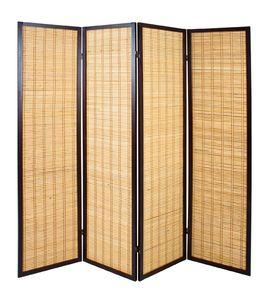 Haku Paravent, tabak-bambus - Maße: 182 cm x 2 cm x 178 cm; 34867