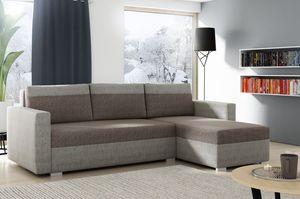Braun + Beige Modern Ecksofa IVO mit Bettkasten und Schlaffunktion, Polsterecke für Wohznimmer Bonnell-Federn + Automat