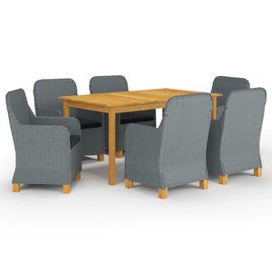 Gartenmöbel Essgruppe 6 Personen ,7-TLG. Terrassenmöbel Balkonset Sitzgruppe: Tisch mit 6 Stühle, Hellgrau❀8974