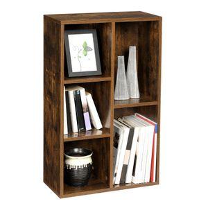 VASAGLE Bücherregal mit 5 Fächern | Bücherschrank Regal zur Präsentation 50 x 24 x 80 cm (L x B x H) vintagebraun LBC025X01