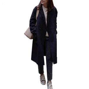 Damen Woll-Mantel Light Coat Trenchcoat Frauen Mantel Outwear Größe: S, Farbe: Schwarz