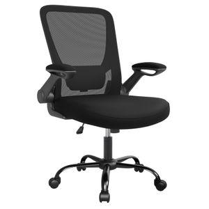 SONGMICS Bürostuhl mit hochklappbaren Armlehnen, Schreibtischstuhl ergonomischer Drehstuhl platzsparend, schwarz OBN37BK