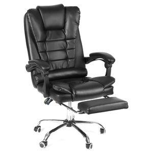 INSMA Chefsessel Bürostuhl bis 150KG Ergonomisch Drehstuhl Kunstleder Computerstuhl mit Fußstütze Schwarz