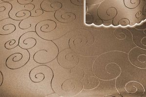 Tischdecke braun hell 130x160 cm eckig damast Ornamente bügelfrei fleckenabweisend