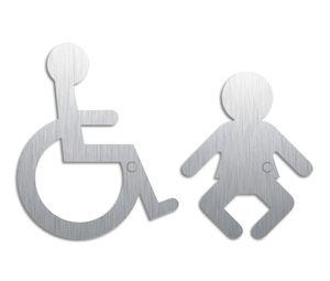 Hinweisschilder Edelstahlpiktogramme Rollstuhl Wickelraum 2er-Set