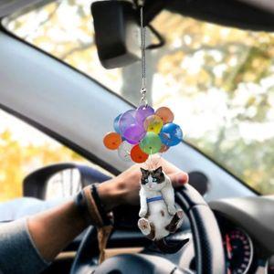 Katzen hängende Dekoration, 3 Stück Schöne Auto hängen Ornament mit bunten Ballon, lustige Auto Inneneinrichtung
