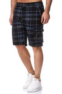 Herren Bermuda Cargo Shorts kurze Capri Sommer Hose Freizeit Basic, Farben:Blau-2, Größe Shorts:L