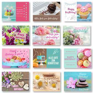 Domelo Geburtstagskarten 12er Set mit Umschlag, Happy Birthday Postkarten, Kraftpapier Karten zum Geburtstag, Geburtstagskarte für Mann/ Frau/ Kinder, Postkarte als Grußkarten