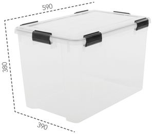IRIS OHYAMA Water Proof Box 70 Liter, transparent-Griffe in schwarz 6166