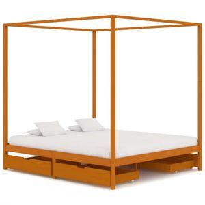 160x200 cm Doppelbett Holzbett Himmelbett-Gestell Bettgestell mit 4 Schubladen Massivholz Kiefer ❤4333