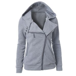 Damen Thermal Long Hoodie Zip Up Jacke Kapuze Warm Coat Casual Jacken Größe:S,Farbe:Grau