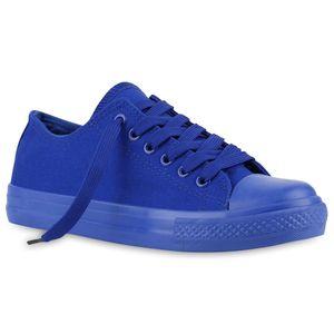 Mytrendshoe Damen Sneakers Stoffschuhe Sportschuhe Freizeit Schnürer 816741, Farbe: Blau, Größe: 40