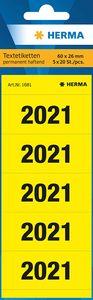 """HERMA Ordner-Inhaltsschild """"2021"""" 60 x 26 mm bedruckt gelb 100 Etiketten"""