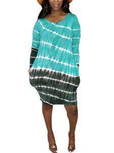 Langärmliges, gestreiftes Hemdkleid mit Farbverlauf und Farbverlauf für Damen Hosenträgerrock,Farbe: Hellgrün,Größe:L