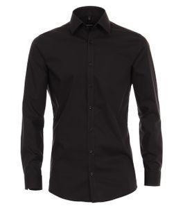 Größe 43 Venti Hemd Schwarz Popeline Uni 72er extra langer Arm Body Fit Extra Schmal Kentkragen 100% Baumwolle Bügelleicht