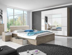 Schlafzimmer komplett Set Bettgestell 4-teilig eiche sanremo / weiß