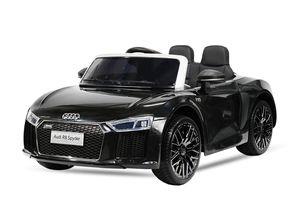 Audi R8 Spyder Kinder Auto Kinder Elektroauto Akku Kinderfahrzeug 12V (2 Sitzer), Farbe:Schwarz