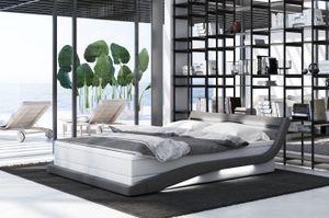 Boxspringbett Mövius, Bettrahmen Farbe:Kunstleder weiß-Stoff grau, Bett Liegemaße:140x200 cm, Bett Matratze:Deluxe Matratze