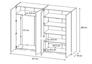 Kleiderschrank Container-Optik 4 Türen B 237 cm Kinder- und Jugendzimmer Schlafzimmer Drehtürenschrank Wäscheschrank