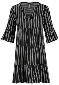 Kleid mit Volants, Größe:S, Farbe:24000|STRIPES: BLACK-WHITE