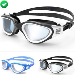 Schwimmbrille, Anti-Beschlag, UV-Schutz, wasserdicht, Erwachsene Unisex, auch für Kinder 8+ Jahren und Jugendliche geeignet (W1 Weiß Schwarz - Grau Gläser)