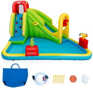 COSTWAY Huepfburg Aufblasbare, Wasserrutsche Spielpool, Wasserspielcenter mit Rutsche, Wasserpark aufblasbar, Planschbecken 400 x 335 x 230cm Farbig