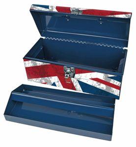 Brüder Mannesmann 41551 Werkzeugbox Union Jack Werkzeugkasten Stauraum Stahl