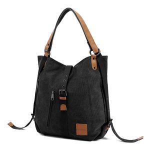 JOSEKO Canvas Tasche, Damen Rucksack Handtasche Vintage Umhängentasche Anti Diebstahl Hobotasche für Alltag Büro Schule Ausflug Einkauf Schwarz