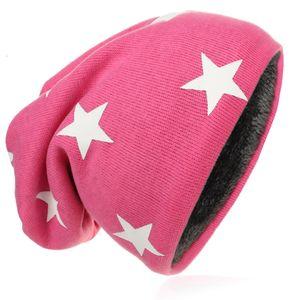 Kinder Strick Beanie Weiss Stern Pink M