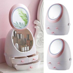 Kosmetikspiegel, USB wiederaufladbare Make-up Aufbewahrungsbox,mit LED, Weiß