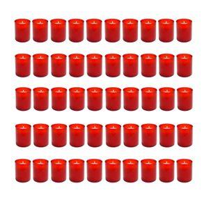 50er Set Grablicht Rot Grabkerze | Kleine Friedhofskerzen Grabbrenner Nr.24 | Gedenkkerze Grableuchte Trauerlicht | Grablichtkerze Grabdekoration