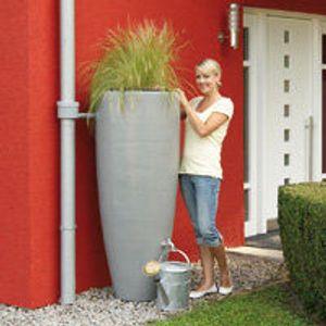 Regentonne 300 Liter Garantia 2in1 Wasserbehälter mit integrierter Pflanzschale zinkgrau
