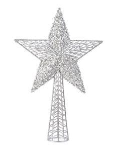 Christbaumspitze Stern Kunststoff 37 x 25 cm Gold / Silber Glitzer Pailletten Weihnachtsbaum Spitze, Farbe:Silber