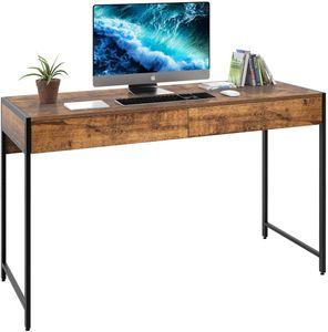 GOPLUS Schreibtisch mit Metallgestell, Computertisch, Konsolentisch mit 2 Schubladen, ideal für Wohnzimmer/Schlafzimmer/Arbeitszimmer/Homeoffice, Einfacher Aufbau, Industrie-Design, Vintage (Braun)