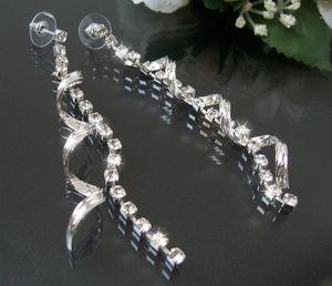 Ohrringe lang Silber Twist Spirale StrassKristalle Damen Schmuck O1845
