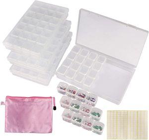 BELLE VOUS Strasssteine Aufbewahrungsbox 4-er Pack 28 Fächer - (17 x 10,5 x 2,5cm) Diamanten Organizer – Sortierkasten Transparent mit 168 Etiketten für Straßsteine, Perlen, Bastel Zubehör