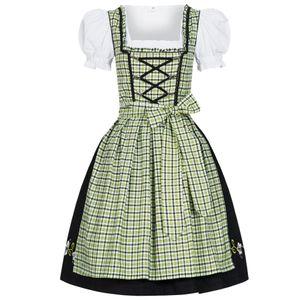 Dirndl 3 tlg.Trachtenkleid Kleid, Bluse, Schürze, Gr. 34-46 schwarz grün kariert 42