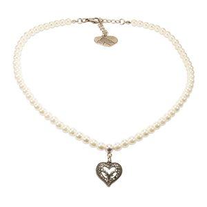 Alpenflüstern Perlen-Trachtenkette Strassherz-Hirsch klein - Damen-Trachtenschmuck Dirndlkette (creme-weiß) DHK238