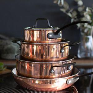 Kochchef Kochtopfset verkupfert inkl. Bratpfanne, 4er-Set, Drei Töpfe, eine Bratpfanne, Edelstahl, Aluminium, Kupfer, hohe Energieeffizienz