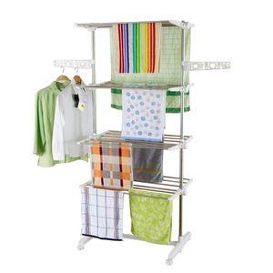 Style home Mobiler Wäscheständer Kleiderstange Klappbar Standtrockner Wäschetrockner-Turm, 4 Räder & Seitenflügel, Edelstahl, 142 x 55 x 178 cm (4 Ebenen)