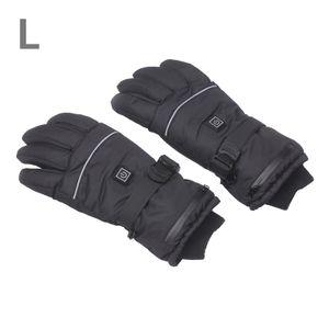 Wiederaufladbare beheizte Handschuhe Wasserdichte Handschuhe Isolierte Handschuhe Automatisch regulieren elektrische warme beheizte Handschuhe Outdoor-Wintersport-Skihandschuhe Rutschfeste Handschuhe (L)
