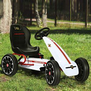 COSTWAY Gokart mit verstellbarem Sitz, Go Cart mit Handbremse und Gangschaltung, Tretauto, Pedal Gokart, Tretfahrzeug, Pedalfahrzeug, Kinderfahrzeug für Kinder von 3-8 Jahren Weiß