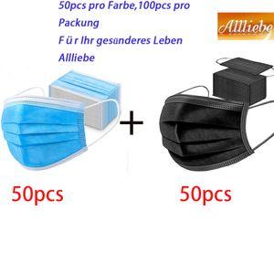 100x iCatcher® Einwegmasken Schutzmaske Maske 3-lagig Atemschutz Mundschutzmaske Gummiband Zwei Farbkombinationen(Blau und Schwarz)
