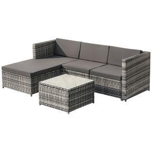 Tiema Gartenmöbel-Sets Poly Rattan Lounge-Sofagarnitur Lounge-Gartenmöbel Ecksofa Couchgarnitur mit Sitz- und Rückenkissen Lounge-Tisch mit Glasplatte Grau