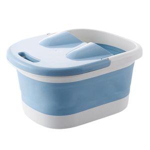 Zusammen klappbares fuß becken fuß wasch becken fuß spa eimer pediküre bad einweichen badewanne reise tragbares waschbecken 44x3x21,5 cm - Blau Farbe Blau