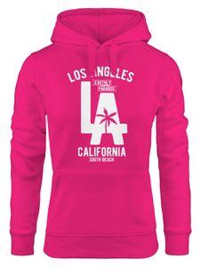 Hoodie Damen Los Angeles California LA Palme Sweatshirt Kapuze Hoody Neverless® pink XL