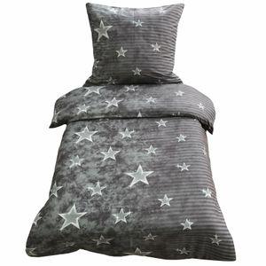 2 tlg Mikrofaser Bettwäsche 155x220 + 80x80 Garnitur Set Sterne Streifen Galaxy Grau