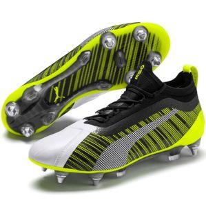 PUMA ONE 5.1 MxSG Low Boot Fußballschuhe Weiss-Schwarz-Gelb Schuhe, Größe:42