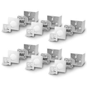 6x ARLI Cat6a Netzwerkdose 2 Port ( Auf + Unterputz )